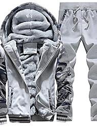 cheap -men's fleece jackets hoodies thick coats wool warm hooded sweatshirt winter pullover 2light grey-l