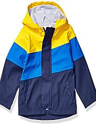 cheap -amazon brand - toddler boys rain coat jacket, yellow/navy colorblock, 3t