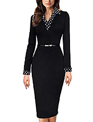 cheap -women's black polka dot contrast long sleeve work cocktail party bodycon pencil dress with belt black uk 10