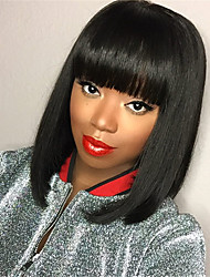 cheap -Wig Female Black Short Straight Wig Wave Bob Wig Headgear Chemical Fiber High Temperature Silk Wig