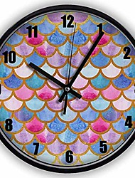 cheap -black vintage silent non ticking wall clock - mermaid fish scales 10 inch quality quartz battery operated personality fashion round home/office/classroom/school clock