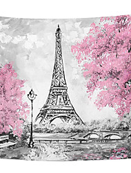 cheap -Valentine's Day Wall Tapestry Art Decor Blanket Curtain Hanging Home Bedroom Living Room Decoration Eiffel Tower Sakura Oil Painting Style