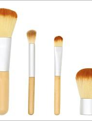 cheap -4 Pcs makeup brushes set bamboo handle linen bag set make up brush beauty tools multi functional beauty brush