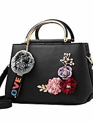 cheap -women leather shoulder bag handbag tote flowers shell ladies vintage handle pack designer wallet purse with pompom