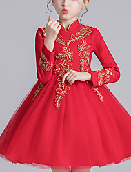 cheap -Kids Girls' Chinoiserie Red Solid Colored Lace Bow Lace up Long Sleeve Knee-length Dress Red