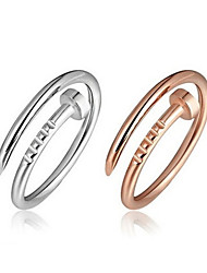 cheap -Women Ring AAA Cubic Zirconia Rivet Rose Gold Silver Gold 18K Gold Plated Mini Stylish European 1pc Adjustable / Couple's / Daily
