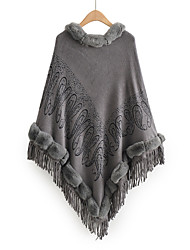 cheap -Women's Embroidery Knitted Solid Color Cloak / Capes Poncho Sweater Acrylic Fibers Long Sleeve Sweater Cardigans Crew Neck Fall Winter Yellow Dark Gray