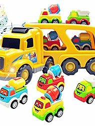 cheap -5 in 1 engineering vehicle set contain 4 construction truck and 1 large carrier truck with sound and light, friction power toy car for kids, boys & girls aged 3+ (cartoon construction)