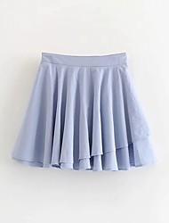 cheap -Women's Causal Daily Active Streetwear Skirts Solid Colored Layered Pleated Blue