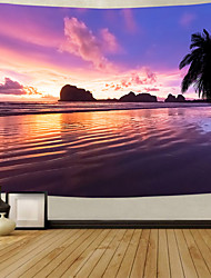 cheap -Wall Tapestry Art Deco Blanket Curtain Picnic Table Cloth Hanging Home Bedroom Living Room Dormitory Decoration Polyester Fiber Beach Series Coconut Tree Sea Wave Sunset