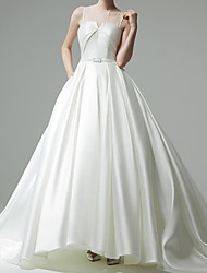 cheap -Ball Gown Wedding Dresses Jewel Neck Chapel Train Satin Sleeveless Formal Simple with Sashes / Ribbons 2021