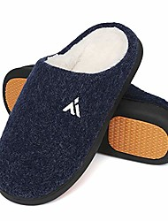 cheap -mens winter warm house slippers memory foam home shoes slip on non slip house slippers for indoor outdoor use dark blue