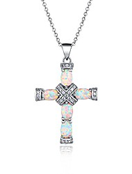 cheap -rose gold & white gold plated fire created opal cross pendant (white gold)