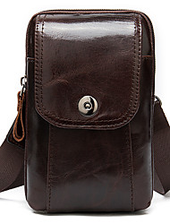 cheap -Men's Bags Cowhide Crossbody Bag Zipper 2020 Daily Going out Brown Coffee