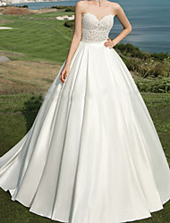 cheap -Ball Gown Wedding Dresses Strapless Court Train Chiffon Lace Sleeveless Formal Beach with 2021