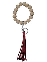 cheap -wooden key ring bracelets with tassel keychains for women (natural-red-silver)
