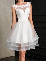 cheap -A-Line Wedding Dresses Jewel Neck Short / Mini Lace Sleeveless Vintage Little White Dress with 2021