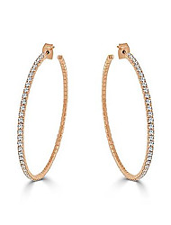 """cheap -lightweight crystal 14k gold plated hoop earring, large -2.25"""" (rose)"""