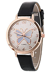 cheap -women quartz watches analog butterfly pattern ladies wrist watches girl watches leather female watches new