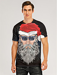 cheap -Men's 3D Graphic T-shirt Print Short Sleeve Christmas Tops Round Neck Black / Gray