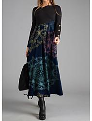 cheap -Women's Swing Dress Maxi long Dress Black Blue Long Sleeve Print Print Fall Elegant 2021 S M L XL XXL 3XL