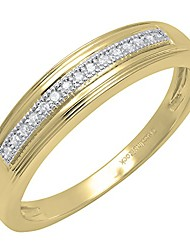 cheap -0.05 carat (ctw) 14k round white diamond men's anniversary wedding band, yellow gold, size 10