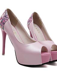 cheap -Women's Heels Stiletto Heel Peep Toe Sexy Daily Walking Shoes PU Flower Floral White Black Pink