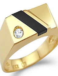 cheap -size- 8 - new solid 14k yellow gold mens simulated onyx cz cubic zirconia ring high polish