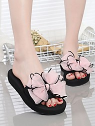 cheap -Women's Slippers & Flip-Flops Outdoor Slippers Platform Open Toe Casual Sweet Daily Outdoor Polyester Imitation Pearl Solid Colored Black Fuchsia Pink