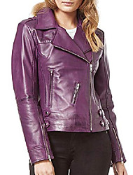 cheap -kainat women's lambskin leather jacket handmade product 264 xs purple