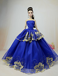 cheap -Doll accessories Doll Clothes Doll Dress Wedding Dress Party / Evening Dresses Wedding Ball Gown Lace Tulle Lace Cotton Blend Silk / Cotton Blend For 11.5 Inch Doll Handmade Toy for Girl's Birthday