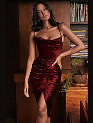 cheap -Women's Strap Dress Short Mini Dress Wine Sleeveless Solid Color Split Ruched Zipper Summer Strapless Sexy Going out Club Slim 2021 S M L XL