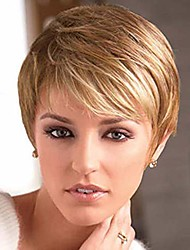 cheap -short pixie cut strawberry blonde wig with bangs high temperature kanekalon synthetic silky straight realistic wigs for women with wig cap