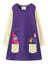 cheap -jumping meters kids baby girls' cartoon unicorn cotton long sleeve dress autumn 1-6 years