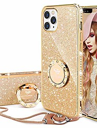 cheap -compatible for iphone 12 pro case, compatible for iphone 12 case, glitter sparkle bling diamond rhinestone bumper with ring kickstand women girls case for iphone 12/12 pro 6.1 inch - gold