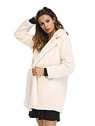 cheap -women's elegant notched collar chunky fuzzy faux fur solid outwear cardigan coat with pocket (xs, beige)