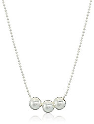 cheap -sterling silver necklace with 3 spacer beads, 24""