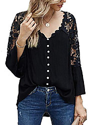 cheap -women's 3/4 sleeve lace shirt casual solid color v neck tops blouse(m,gray)