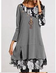 cheap -Women's A-Line Dress Short Mini Dress - Long Sleeve Print Patchwork Print Fall Casual Slim 2020 Black Dusty Blue Gray S M L XL XXL 3XL