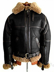 cheap -b3 black bomber hood real shearling leather jacket removable hood (s)