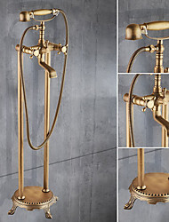 cheap -Floor Standing Bathtub Faucet,Brass Two Handles Two Holes Retro Bath Shower Mixer Taps Include 	Handshower and Drian with Hot and Cold Water