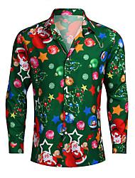 cheap -Men's Graphic Shirt Print Long Sleeve Christmas Tops Streetwear Button Down Collar Green