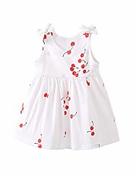 cheap -infant girl's cotton adorable sleeveless summer swing dress red cherry 6-12 months