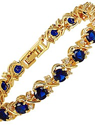 """cheap -blossom tennis bracelet & round cut cz [simulated blue sapphire] in yellow gold plated, 7"""""""