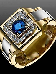 cheap -Ring AAA Cubic Zirconia Gold 18K Gold Plated Alloy Stylish 1pc 6 8 10 11 12 / Men's / Party / Wedding / Gift / Daily