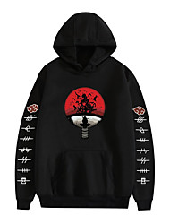 cheap -Inspired by Naruto Uchiha Itachi Cosplay Costume Hoodie Polyester / Cotton Blend Graphic Printing Hoodie For Women's / Men's