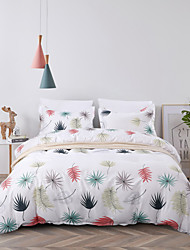 cheap -Premium Reversible Colorful Leaves Duvet Cover Set Lightweight Reversible Soft 3Pcs Set(1 Duvet Cover  2 Pillow Pillowcases)King/Queen