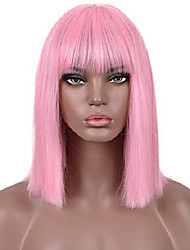 cheap -pink short wig straight bob pink wig with air bangs heat resistant synthetic hair women's wig
