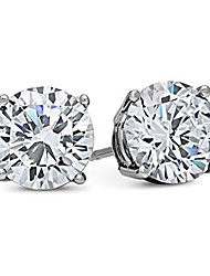 cheap -dtla 14k white gold solid cubic zirconia stud earrings (4 carats)