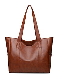 cheap -Women's Bags PU Leather Tote Top Handle Bag Zipper Daily Outdoor Handbags Baguette Bag Black Purple Red Green